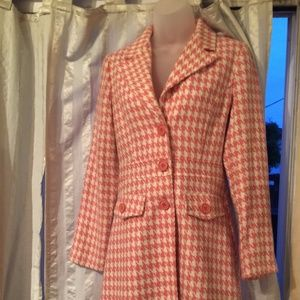 Forever 21 Pink Houndstooth Trench coat